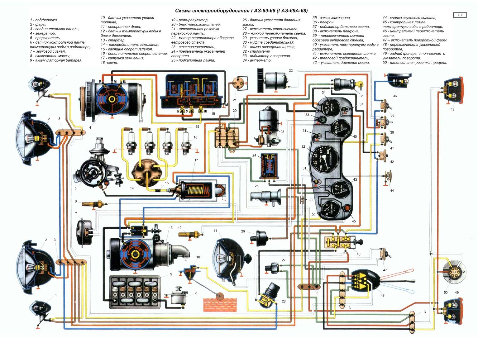 Схема электропроводки газ 52 цветная с описанием фото 909