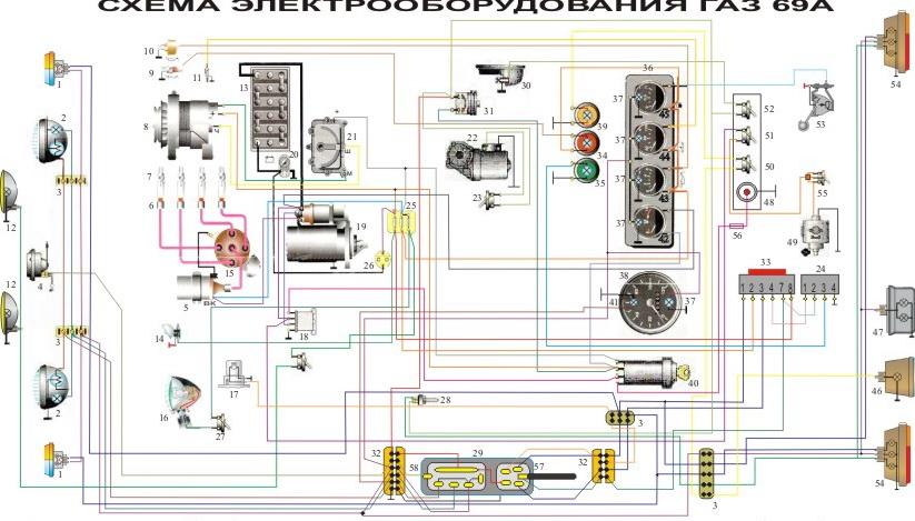 Схема проводки газ-69