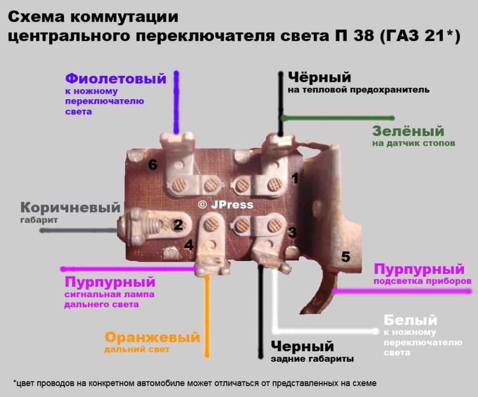Схема подключения центрального переключателя света