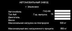 Табличка с номерами кузова, двигателя, т.д.