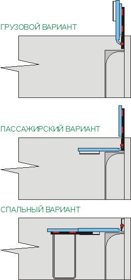 Компановка зидних пасажиро-спально-грузовых сидений 8-местки