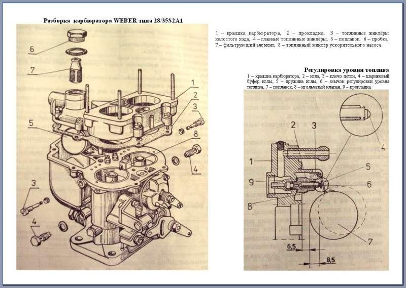 Карбюратор WEBER типа 28/35S2A1 на двигатель S21 а/м Zuk